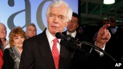 U.S. Sen. Thad Cochran, R-Miss., addresses supporters and volunteers at his runoff election victory party Tuesday, June 24, 2014