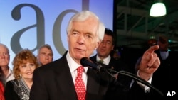 U.S. Sen. Thad Cochran speaks to supporters at his run-off election victory party Tuesday, June 24, 2014