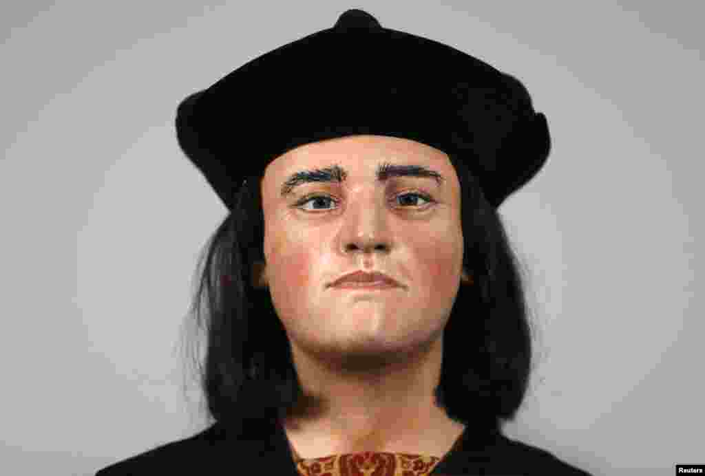 A facial reconstruction of King Richard III is displayed at a news conference in London, February 5, 2013.