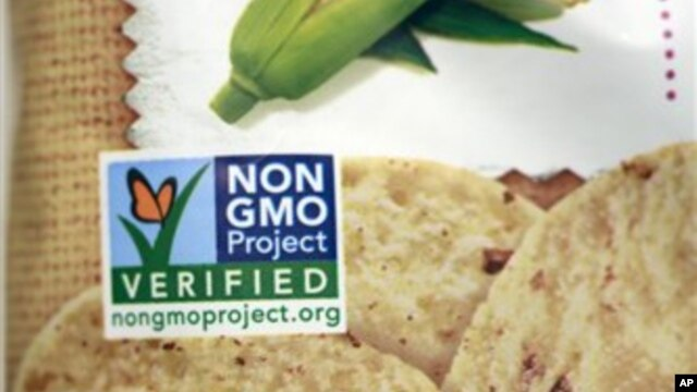 A product labeled with Non Genetically Modified Organism (GMO) is sold at the Lassens Natural Foods & Vitamins store in Los Angeles. Californians are considering Proposition 37, which would require labeling on all food made with altered genetic material.