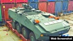 被香港被扣押的新加坡裝甲車(蘋果日報圖片)