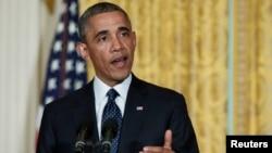 奧巴馬總統5月15日在白宮東廳發表談話,論及國稅局代局長辭職問題