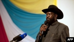 South Sudan President Salva Kiir, shown here delivering a speech last year in Juba, is hosting a meeting of the ruling SPLM party's political bureau. (AFP)
