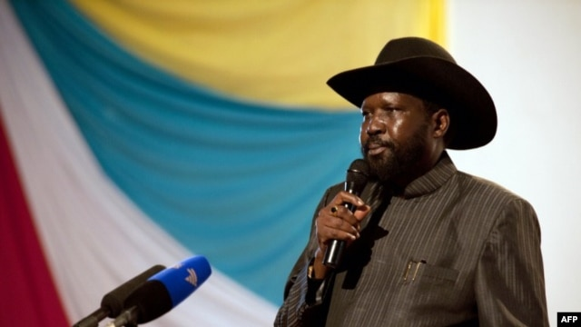South Sudan President Salva Kiir delivers a speech on the eve of of the country's first anniversary at Nyakuron Cultural Centre in Juba, July 8, 2012.