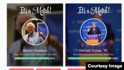 Popular dating app Tinder is letting users swipe over the issues in the U.S. presidential elections. (Tinder)