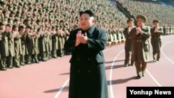 북한 김정은 국방위원회 제1위원장이 건설부문 평가회의인 '2014년도 건설정형 총화를 위한 군정간부회의'에 참석했다고 조선중앙통신이 지난 2일 보도했다. (자료사진)
