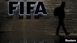 Pintu masuk kantor pusat FIFA di Zurich.