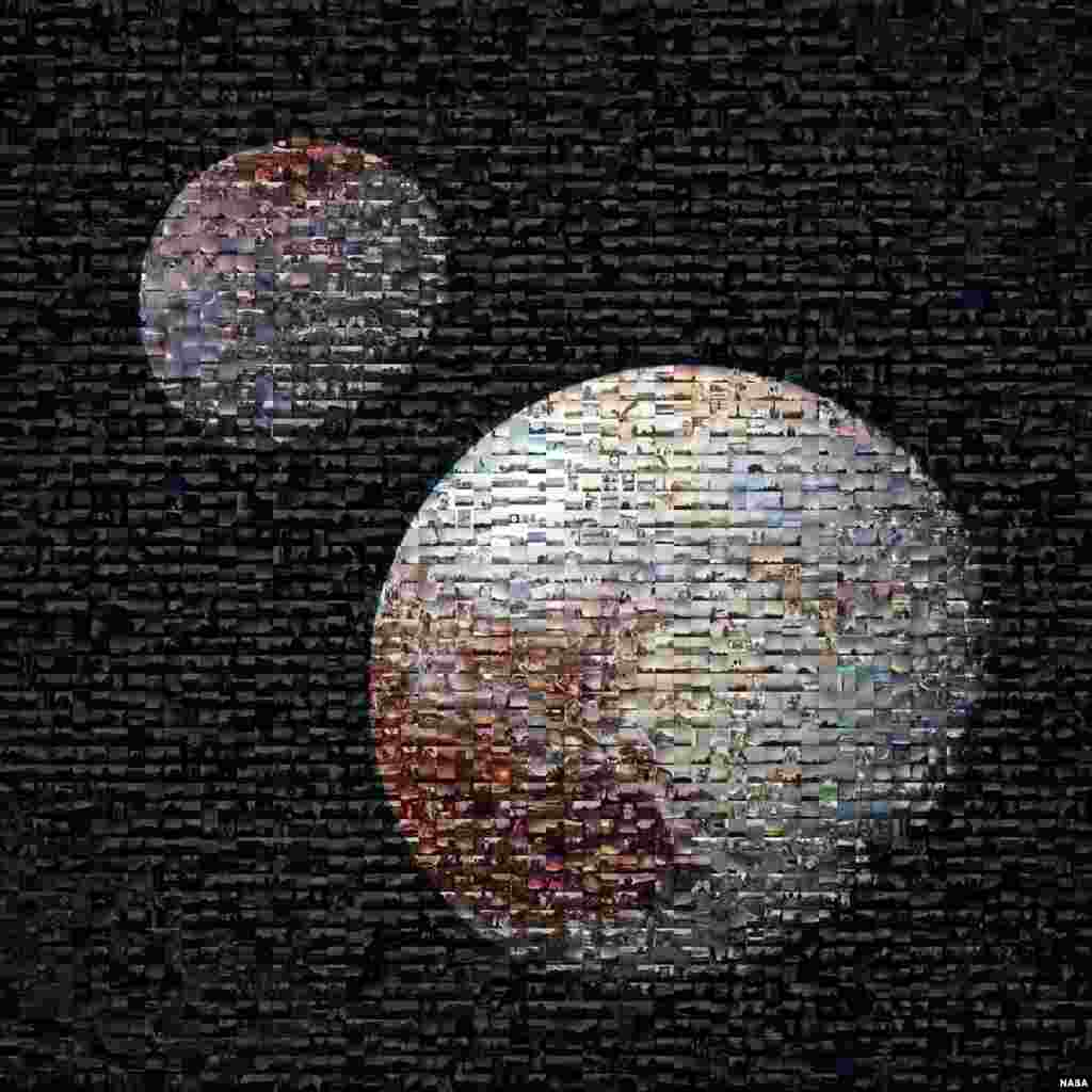 "Computer-generated composite view of Pluto and Charon filled with about 2,100 #PlutoTime images shared on social media. NASA is unveiling mosaics of Pluto and its largest moon Charon, representing the global response to its popular ""#PlutoTime"" social social media campaign."