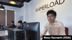 In Vichet, founder and CEO of Khmerland, the first Cambodian tech startup to receive backing from Silicon Valley. (Neou Vannarin/VOA Khmer)