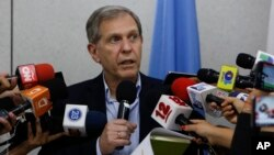 Guillermo Fernandez Maldonado, chief of the United Nation's human rights mission in Nicaragua speaks during a press conference at the U.N. building in Managua, Nicaragua, Aug. 31, 2018. Fernandez Maldonado said that he and his team would leave the country on Saturday.