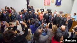 "Surviving members of the ""Friendship Nine"" gather to have their trespassing convictions vacated at a courthouse in Rock Hill, South Carolina, Jan. 28, 2015."