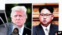 Perezida Donald Trump, ibubamfu, na perezida wa Koreya ya ruguru Kim Jong Un\