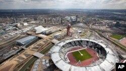 4月14号从空中俯拍的伦敦奥运体育馆