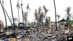 지난달 16일 불교도인들과 로힝야 이슬람교 주민들간에 유혈 사태로 폐허가 된 마을.