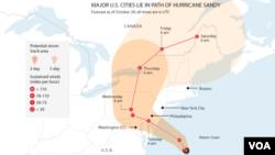 Hurricane Sandy graphic map