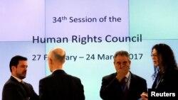 스위스 제네바 유엔본부에서 제34차 유엔 인권이사회 정기이사회가 열리고 있다.