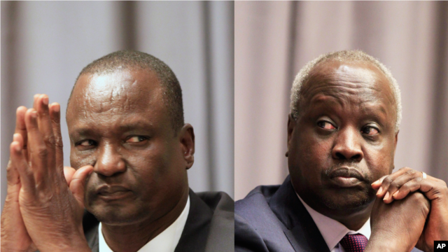 Head of the rebel delegation in Addis Ababa, Taban Deng Gai, left, and the leader of the South Sudanese government's delegation, Nhial Deng Nhial, attend the opening ceremony of peace negotiations in Addis Ababa, Ethiopia, January 4, 2014.
