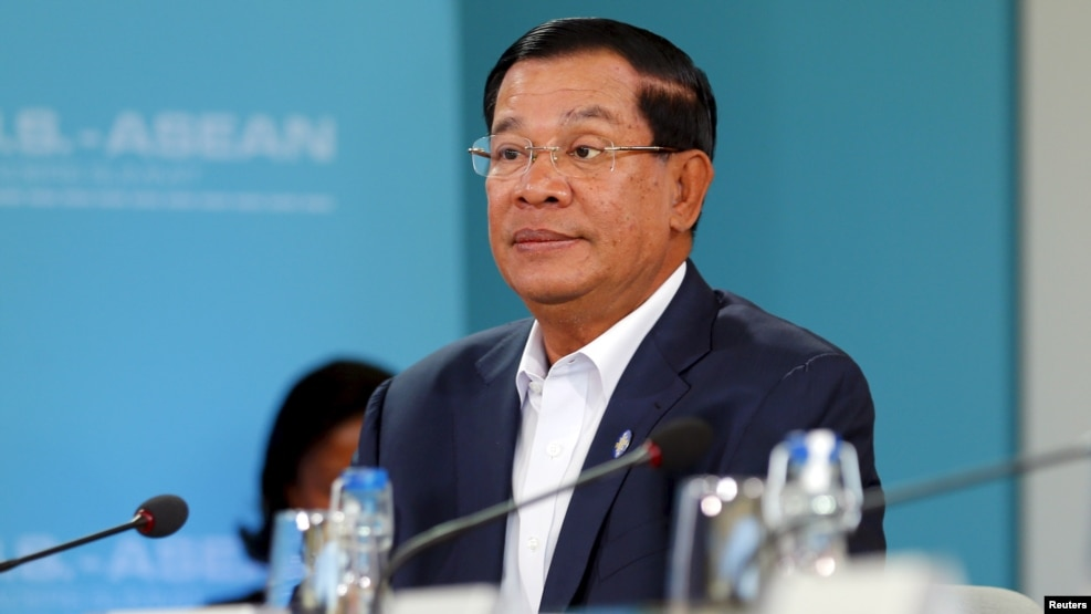 FILE - Cambodian Prime Minister Hun Sen at the Association of Southeast Nations (ASEAN) summit in Rancho Mirage, Calif., Feb. 15, 2016.