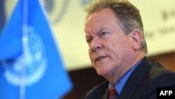 聯合國糧食計劃署執行主任比斯利在首爾召開的記者會上。(2018年5月15日)