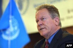 David Beasley, the U.N. World Food Program executive director, speaks during a press conference in Seoul on May 15, 2018, after a visit to North Korea.
