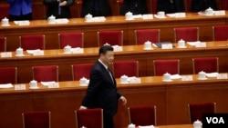 中国国家主席习近平11号抵达北京人大会堂参加宪法修正案的投票表决