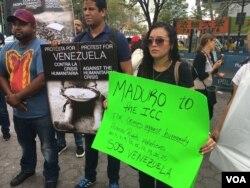 Protesta de venezolanos en Nueva Yor. Sept. 21 de 2017. Foto: VOA.