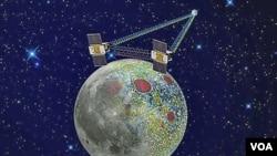 Ilustrasi NASA menunjukkan pemetaan medan gravitasi bulan pesawat ruang angkasa kembar Grail. Kedua pesawat tanpa awak ini mengelilingi orbit bulan selama akhir pekan Tahun Baru 2012.