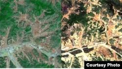 북한 평양지역의 산림 위성사진을 분석한 결과 2005년에 비해 2012년 녹지가 급격히 줄어들고, 산림황폐화가 이미 상당부분 진행 중인 것으로 확인됐다. 한국 산림청이 공개한 북한 평양지역의 2005년(왼쪽)과 2012년의 산림 위성사진. (자료사진)