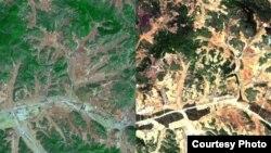 북한 평양지역의 산림 위성사진을 분석한 결과 2005년에 비해 2012년 녹지가 급격히 줄어들고, 산림황폐화가 이미 상당부분 진행 중인 것으로 확인됐다. 한국 산림청이 공개한 2005년(왼쪽)과 2012년의 평양 지역 산림 위성사진. (자료사진)