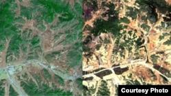 북한 평양지역의 산림 위성사진을 분석한 결과 2005년에 비해 2012년 녹지가 급격히 줄어들고, 산림황폐화가 이미 상당부분 진행 중인 것으로 확인됐다. 한국 산림청이 공개한 2005년(왼쪽)과 2012년의 평양 지역 산림 위성사진.