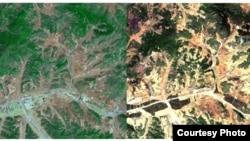 북한 평양 지역 산림 위성사진을 분석한 결과 2005년(왼쪽)에 비해 2012년(오른쪽) 녹지가 급격히 줄어들고, 산림황폐화가 이미 상당부분 진행 중인 것으로 확인됐다. 한국 산림청이 공개한 평양 지역 산림 위성사진. (자료사진)