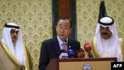 Generalni sekretar UN-a Ban Ki Mun na konferenciji za štampu u ministarstvu inostranih poslova u Kuvajtu, govorio o Siriji