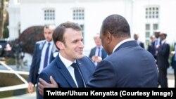 Rais Kenyatta akimpokea mgeni wake Rais Macron