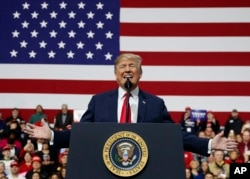 U.S. President Donald Trump speaks at a campaign rally at Atlantic Aviation in Moon Township, Pa., March 10, 2018.