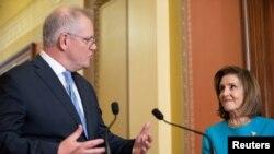 澳大利亚总理莫里森到美国国会与众议院议长佩洛西会晤(路透社2021年9月22日)