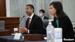 Аджит Пай, председатель Федеральной комиссии по связи, дает свидетельские показания в Сенате США