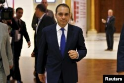 FILE - Jordan's Prince Ali Bin Al Hussein, FIFA presidential candidate, attends the Soccerex Asian Forum on developing the business of football in Asia at the King Hussein Convention Center at the Dead Sea, Jordan, May 4, 2015.