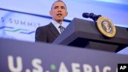 美國總統奧巴馬去年在華盛頓舉行的非洲領導人會議上講話。