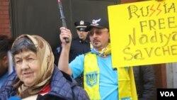 Мария Савченко на митинге в Нью-Йорке. Photo: Oleg Sulkin