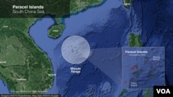 Map of Paracel Islands in South China Sea.