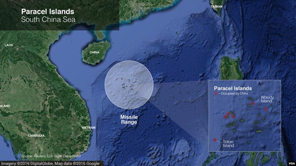 Khu vực quần đảo Hoàng Sa trên Biển Đông.