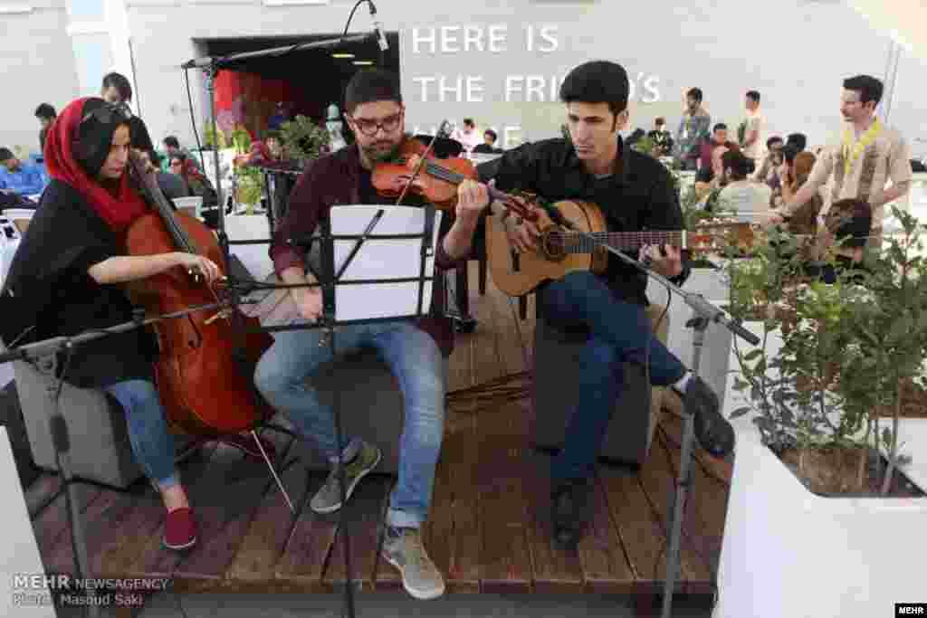 نواختن موسیقی زنده در ششمین روز جشنواره جهانی فیلم فجر عکس: مسعود ساکی