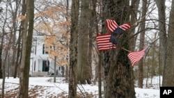 Beberapa bendera Amerika berukuran kecil dipasang di sebuah pohon di depan rumah keluarga Otto Warmbier, di Wyoming, Ohio, Jumat (22/1). Warnbier, mahasiswa AS dikabarkan ditahan oleh pihak berwenang Korea Utara.