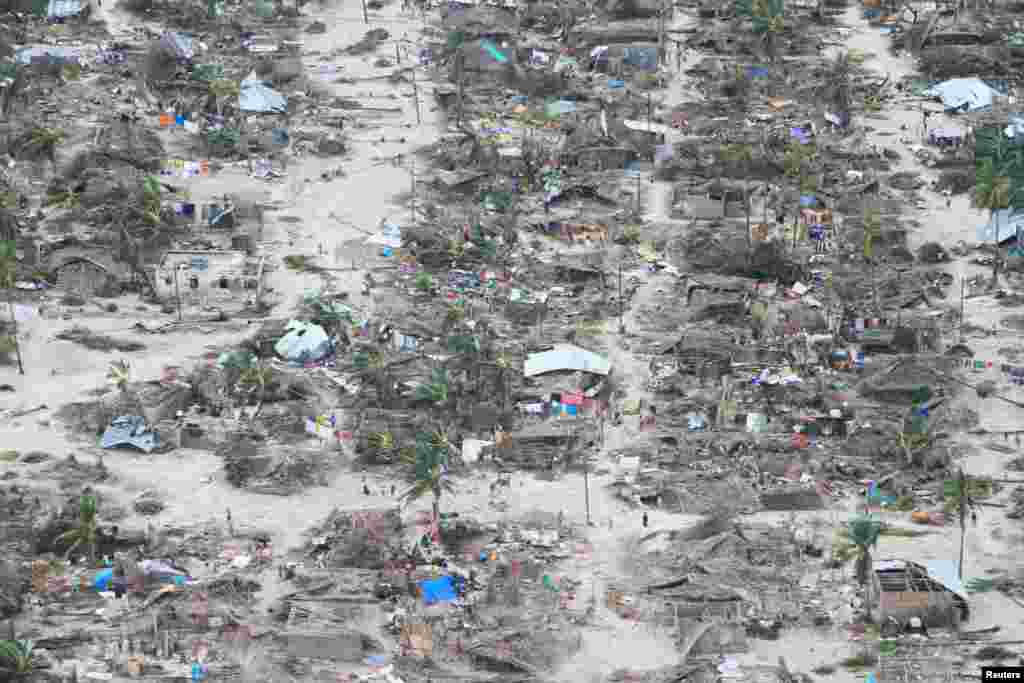 The aftermath of Cyclone Kenneth is seen in Macomia District, Cabo Delgado province, Mozambique in this picture obtained from social media.