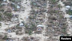 Athari zilizoletwa na kimbunga Kenneth katika Wilaya ya Macomia, Jimbo la Cabo Delgado, Msumbiji, Aprili 27, 2019.