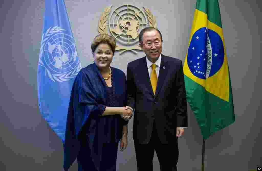 Dilma Rousseff junto al secretario general de la ONU, Ban Ki-moon.