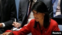 FILE - U.S. Ambassador to the United Nations Nikki Haley at U.N. headquarters in New York, July 5, 2017.