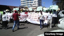 FILE: National Railways of Zimbabwe workers stage peaceful protests in the country's second largest city, Bulawayo.