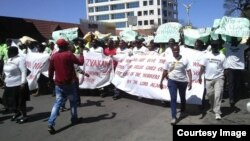 FILE: NRZ workers recently staged peaceful protests in Zimbabwe's second largest city, Bulawayo.