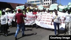FILE: National Railways of Zimbabwe workers stage protests over wage delays in Zimbabwe's second largest city, Bulawayo.
